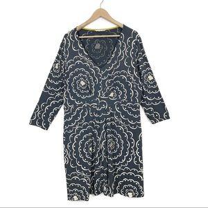 Boden Blue Cream Floral Stretch Knee Length Dress